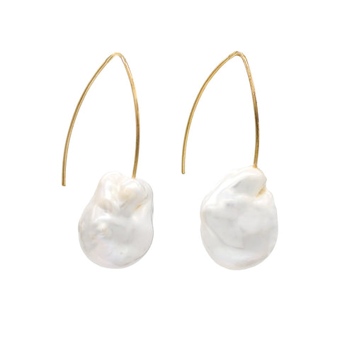 Delicate Gold Pearl Hoop Earrings