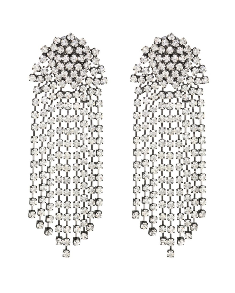 Gunmetal Crystal Cluster Top Waterfall Drop Clip Earrings
