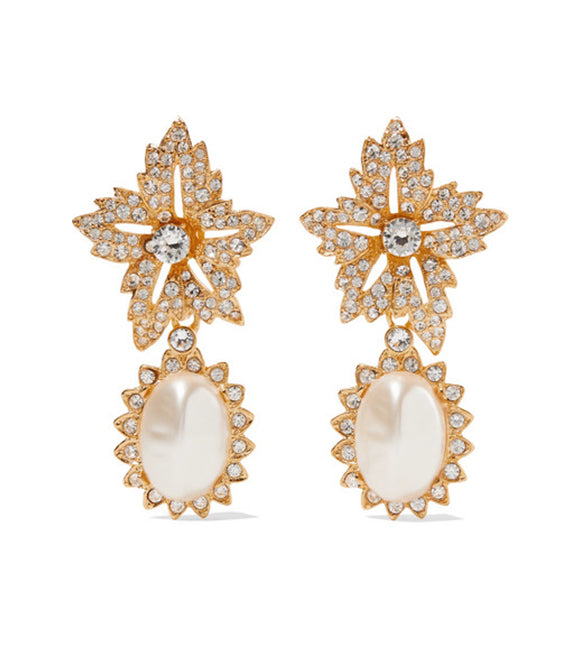Crystal Pearl Clip Earrings