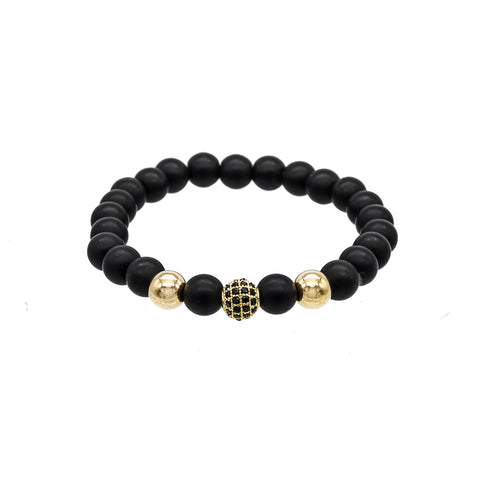 Wrap Black Leather Bracelet Gold clasp | M