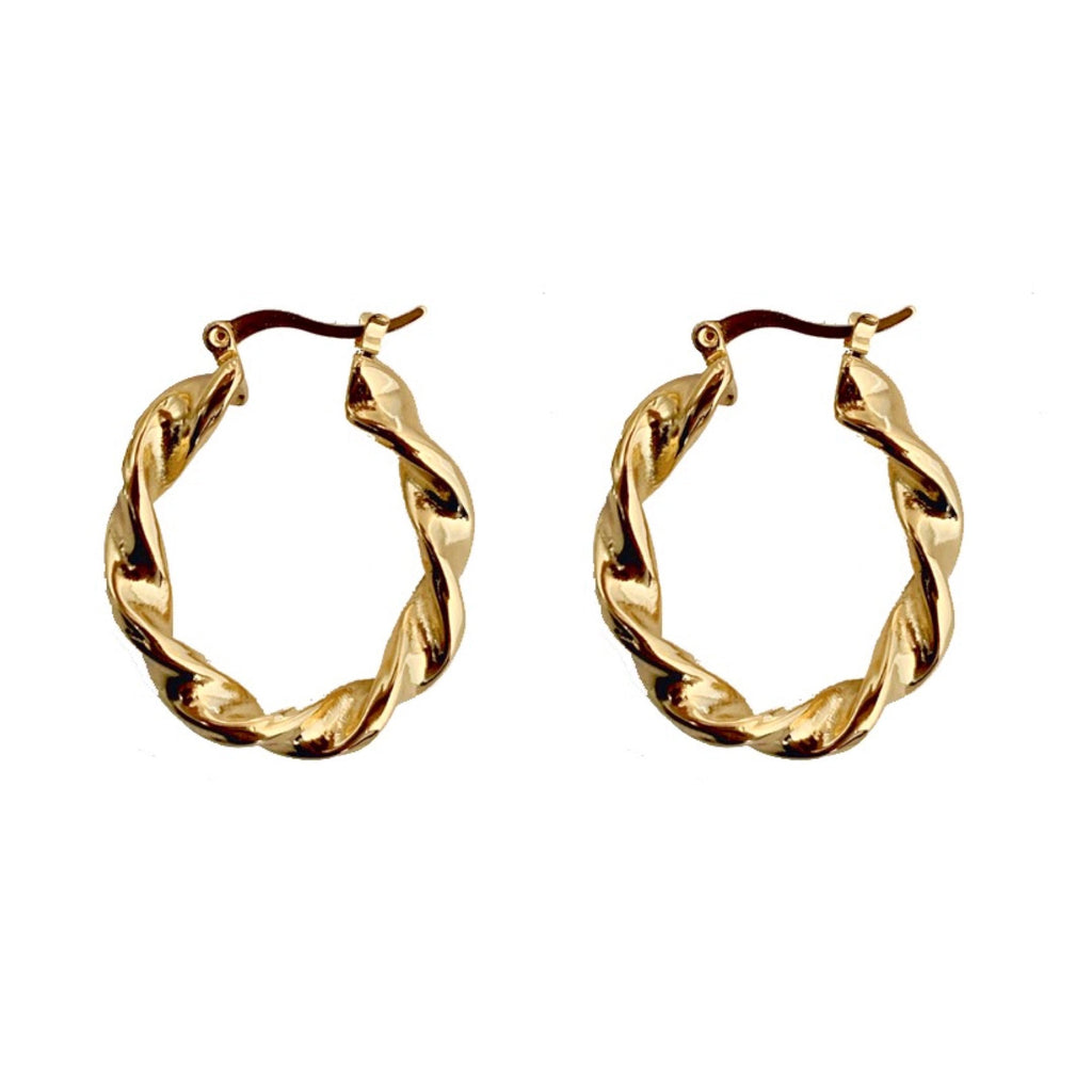 Mae Gold Twist Oval Hoops