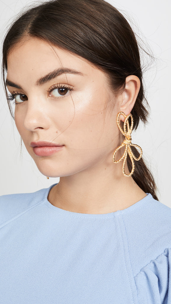 Knotted Bow Drop Earrings