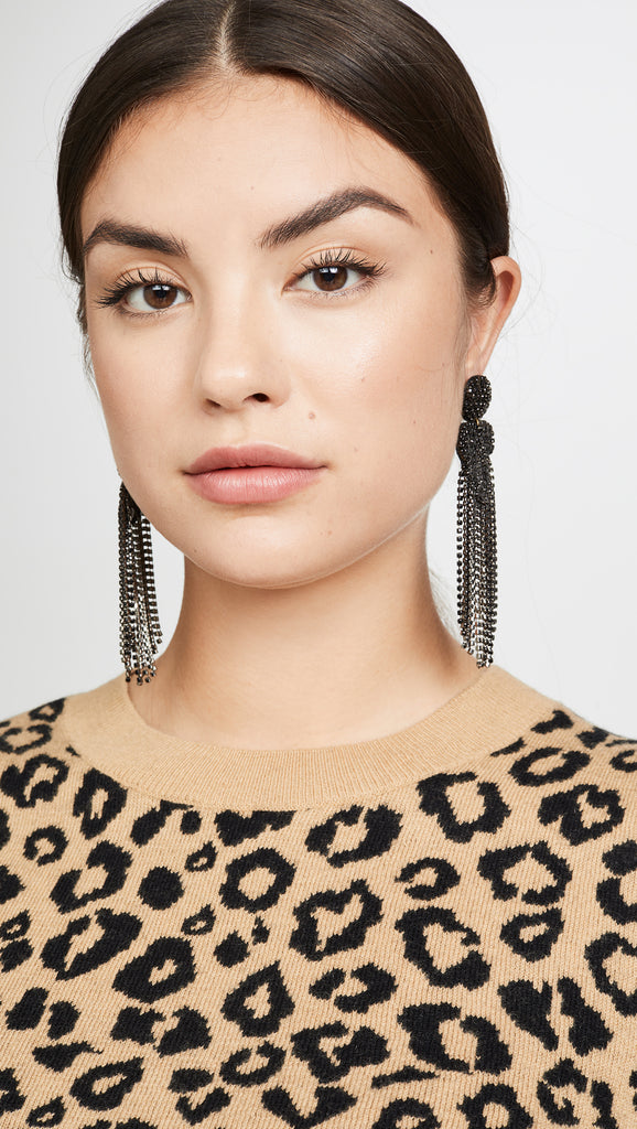 Black Crystal Fringe Earrings