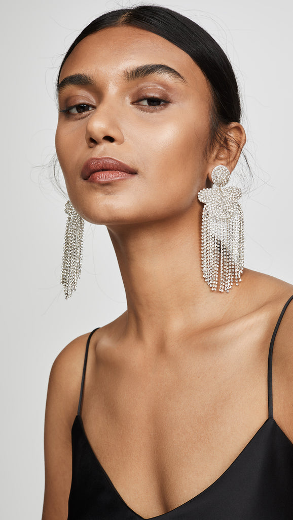 Silver Crystal Fringe Earrings