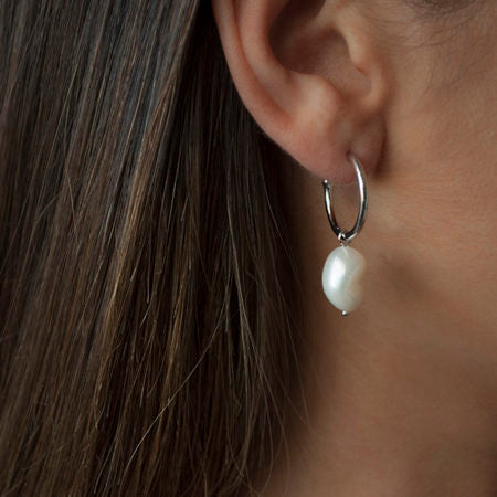 Baroque Pearl Hoop Earrings - Pierre Winter Fine Jewels