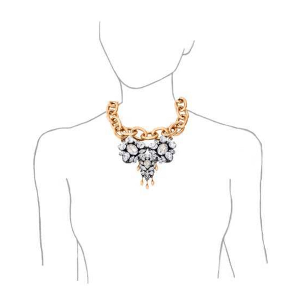 Gold Chain Crystal Cluster Necklace