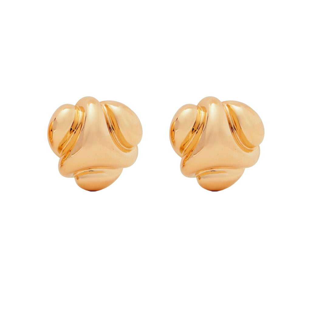 Satin Gold Clip Earrings