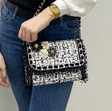 Fleur Black White Crossbody Bag