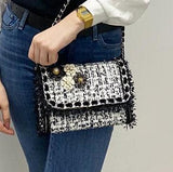 Gabrielle Black & Gold Crossbody Bag