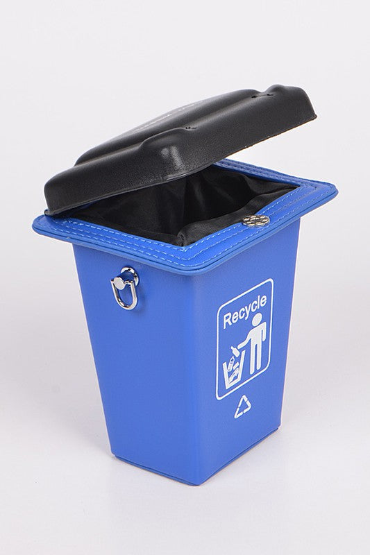 RECYCLE TRASH CAN CLUTCH Blue