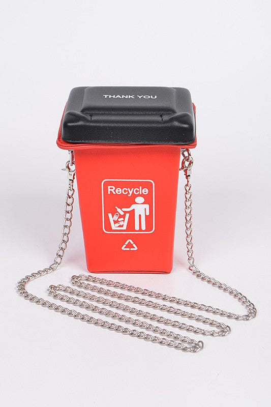 RECYCLE TRASH CAN CLUTCH Red