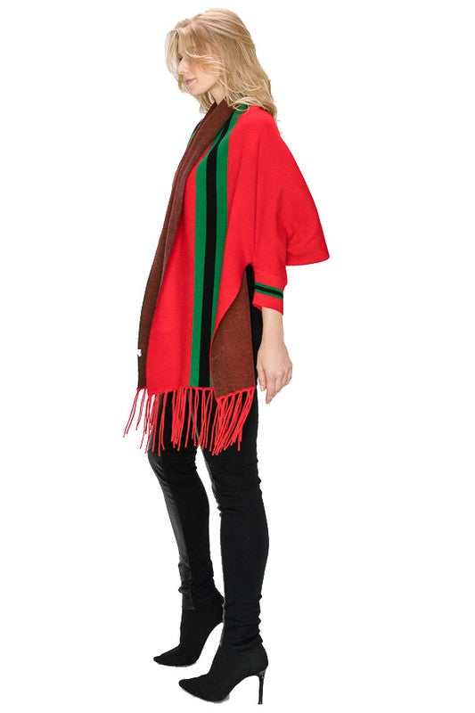 STRIPE SHAWL PONCHO Red