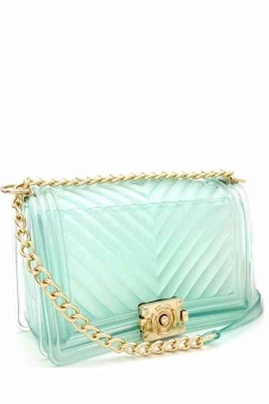 CHEVRON JELLY PURSE GREEN