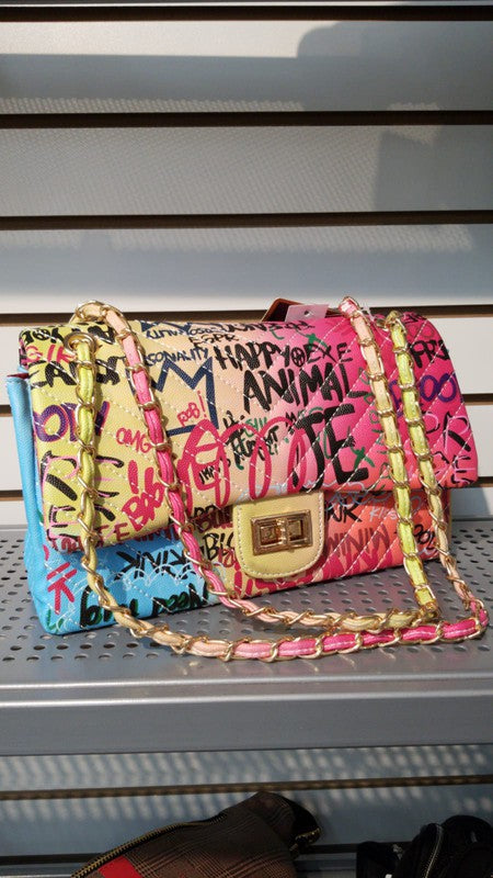 BIG CHEVRON GRAFFITI RAINBOW BAG