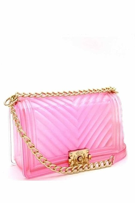 CLEAR CHEVRON JELLY PURSE PINK