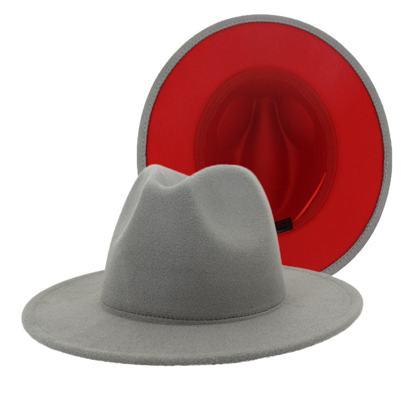 Gray Red Fedora