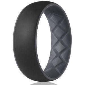 Egnaro Men Silicone Wedding Ring for Dual Color Breathable