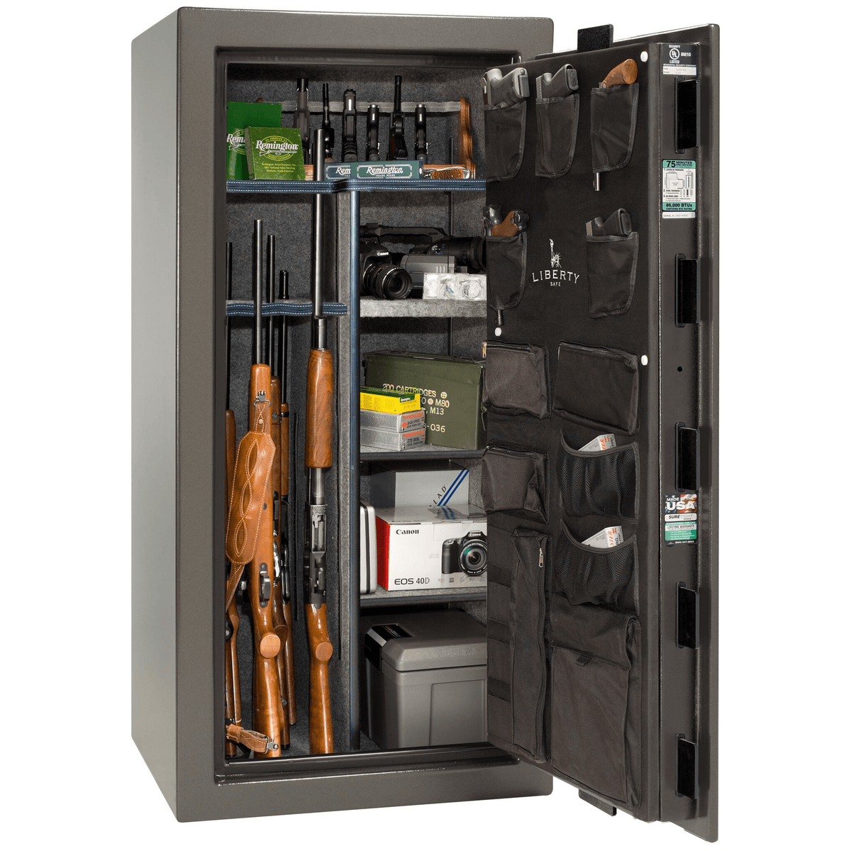 "Franklin | 25 | Level 4 Security | 90 Minute Fire Protection | Gray | Black Mechanical Lock | 60.5""(H) x 30""(W) x 28.5""(D)"