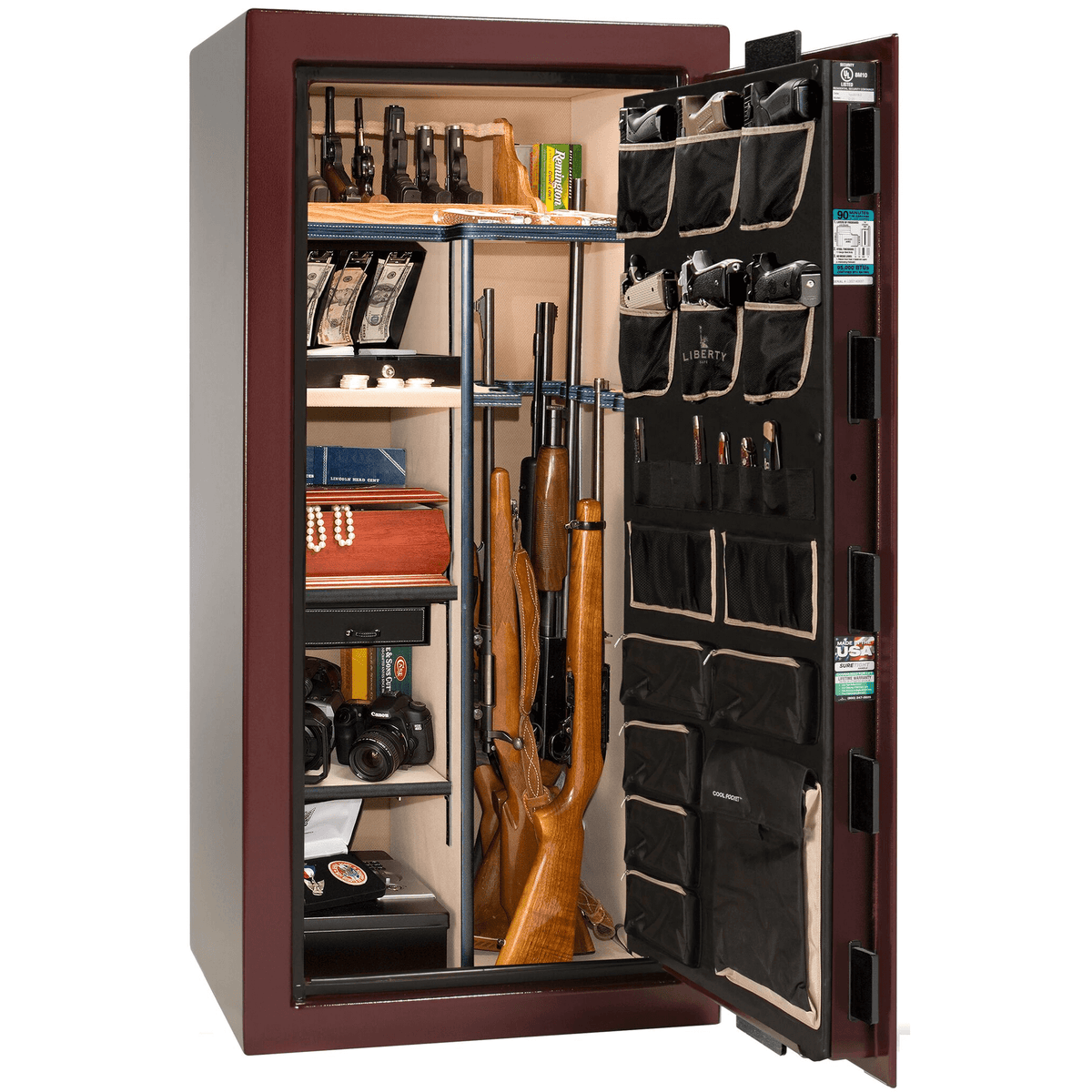 "Classic Select | 25 | Level 6 Security | 90 Minute Fire Protection | Burgundy | Brass Electronic Lock | 60.5""(H) x 30""(W) x 28.5""(D)"
