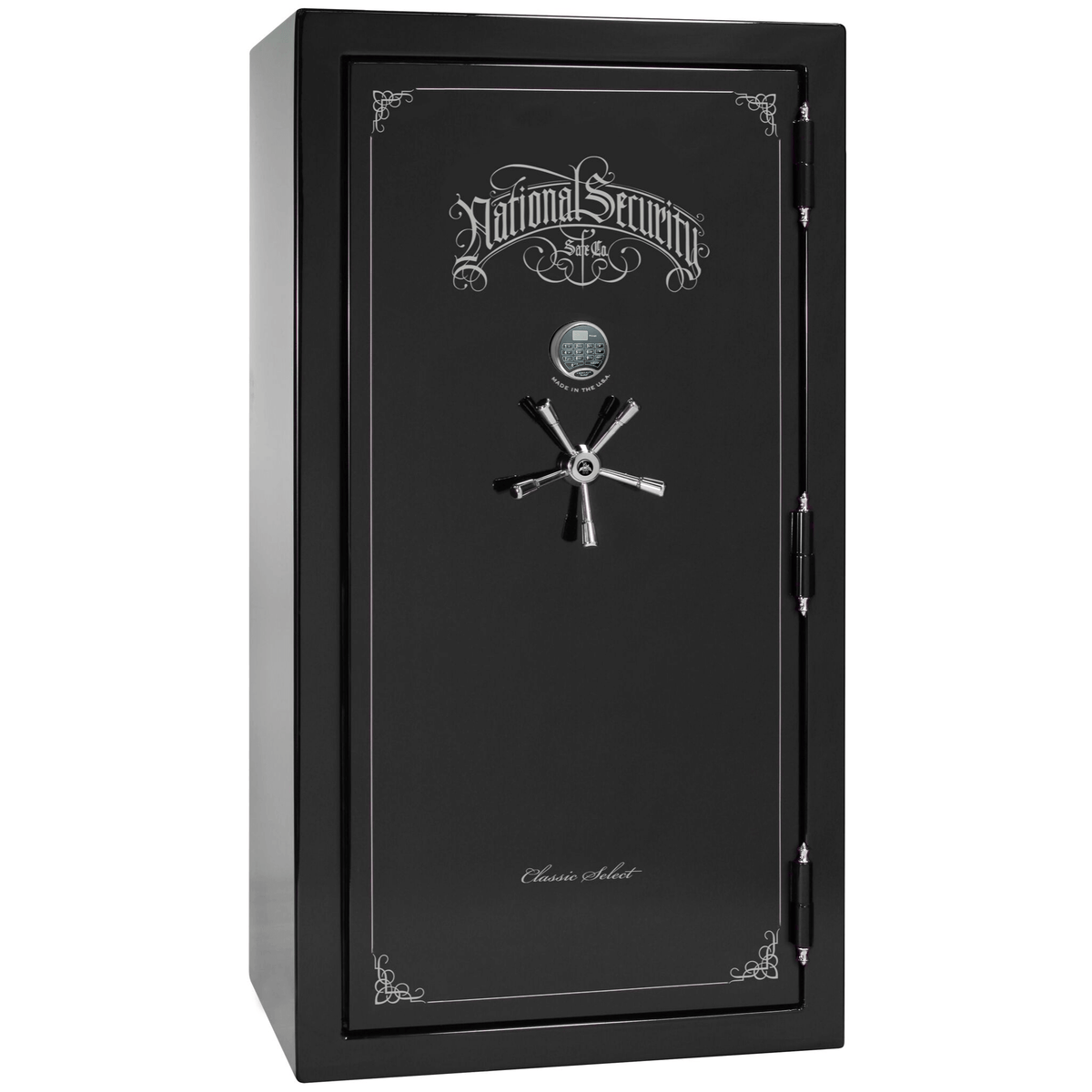 "Classic Select | 40 | Level 6 Security | 90 Minute Fire Protection | Black Gloss | Chrome Electronic Lock | 66.5""(H) x 36""(W) x 32""(D)"