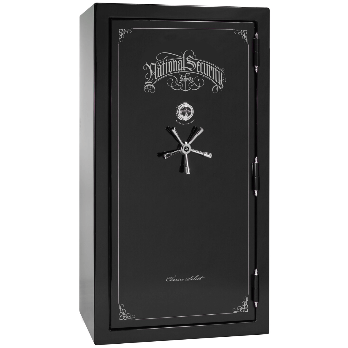 "Classic Select | 40 | Level 6 Security | 90 Minute Fire Protection | Black Gloss | Chrome Mechanical Lock | 66.5""(H) x 36""(W) x 32""(D)"