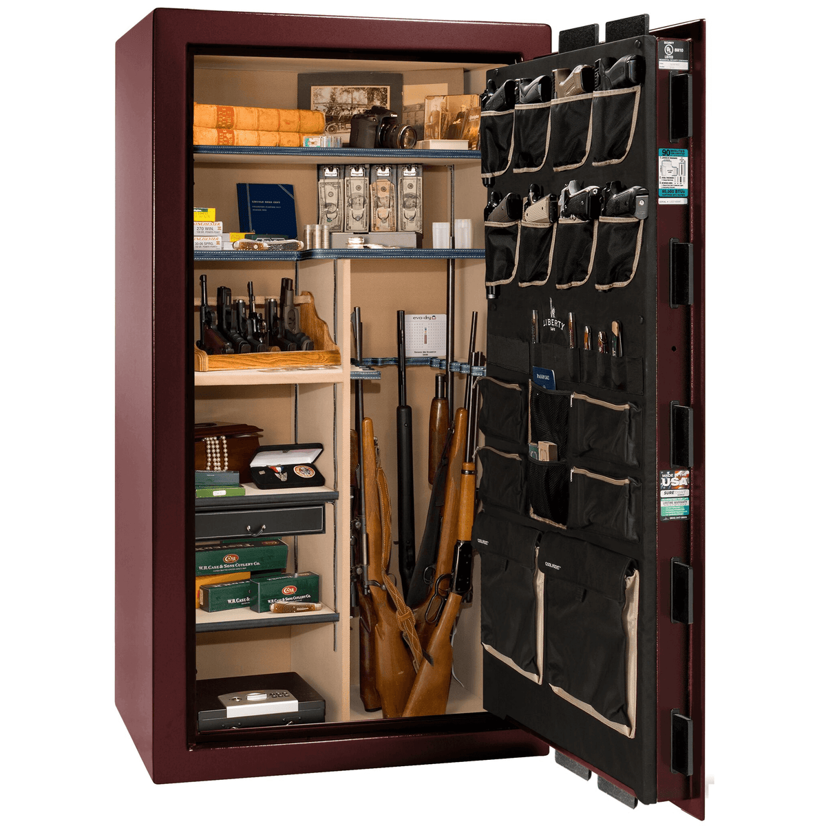"Classic Select | 40 | Level 6 Security | 90 Minute Fire Protection | Burgundy Gloss | Brass Mechanical Lock | 66.5""(H) x 36""(W) x 32""(D)"