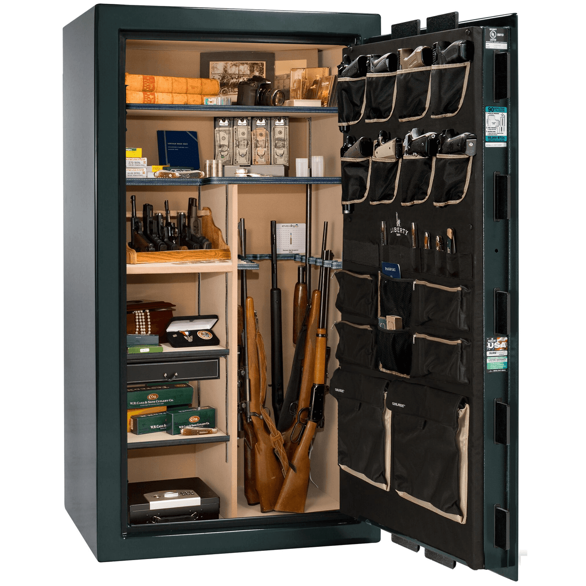 "Classic Select | 40 | Level 6 Security | 90 Minute Fire Protection | Green | Brass Electronic Lock | 66.5""(H) x 36""(W) x 32""(D)"