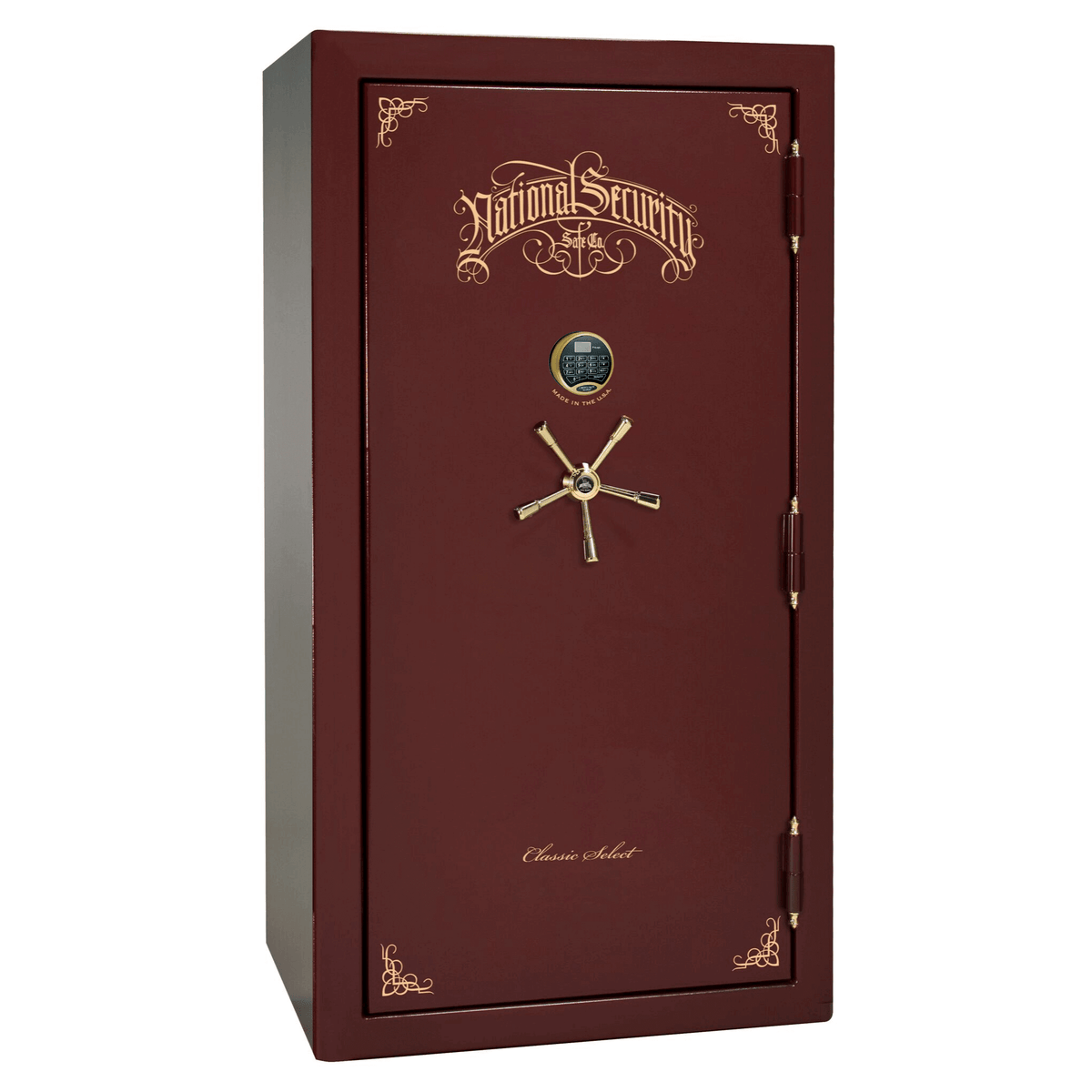"Classic Select | 40 | Level 6 Security | 90 Minute Fire Protection | Burgundy | Brass Electronic Lock | 66.5""(H) x 36""(W) x 32""(D)"