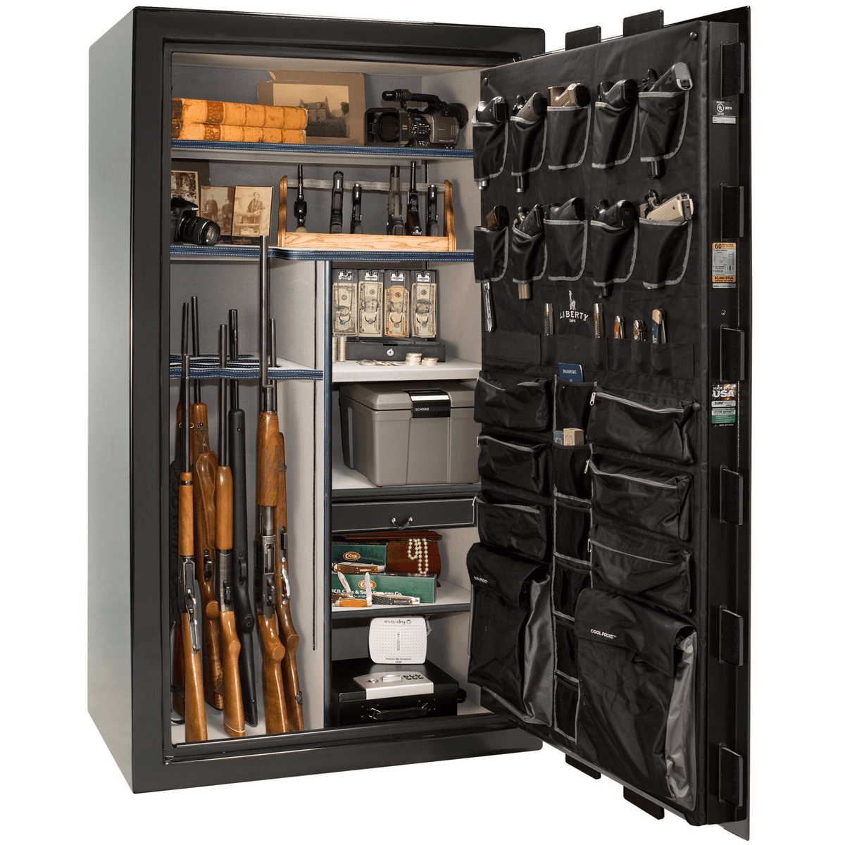 "Classic Select | 50 | Level 6 Security | 90 Minute Fire Protection | Black Gloss | Black Electronic Lock | 72.5""(H) x 42""(W) x 32""(D)"