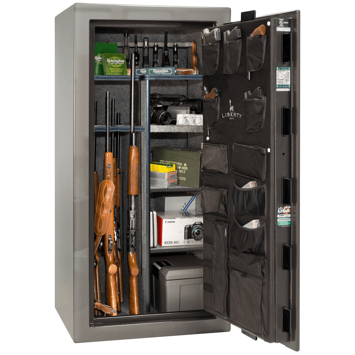 "Franklin | 25 | Level 4 Security | 90 Minute Fire Protection | Gray Gloss | Black Mechanical Lock | 60.5""(H) x 30""(W) x 28.5""(D)"