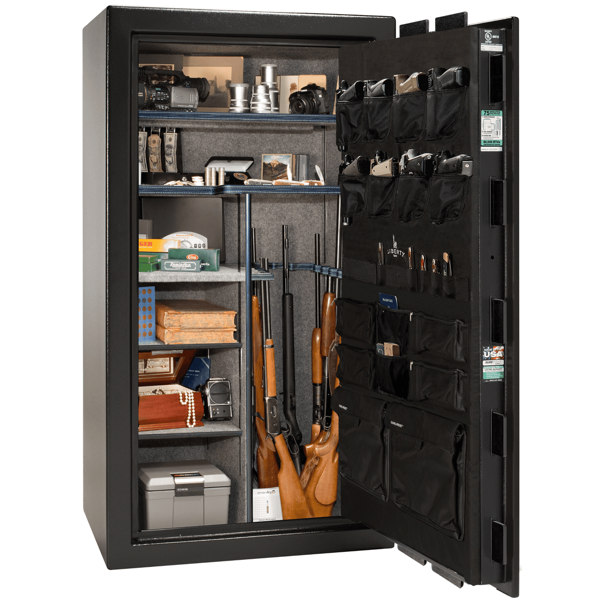 "Franklin | 40 | Level 4 Security | 90 Minute Fire Protection | Black | Chrome Mechanical Lock | 66.5""(H) x 36""(W) x 32""(D)"