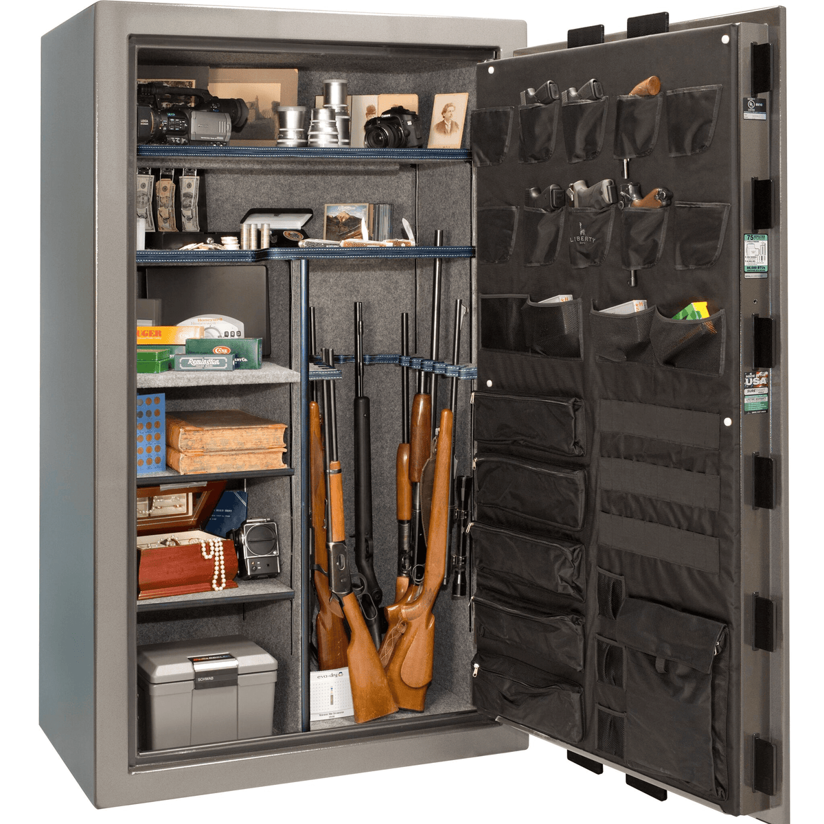 "Franklin | 50 | Level 4 Security | 90 Minute Fire Protection | Gray Gloss | Black Electronic Lock | 72.5""(H) x 42""(W) x 32""(D)"