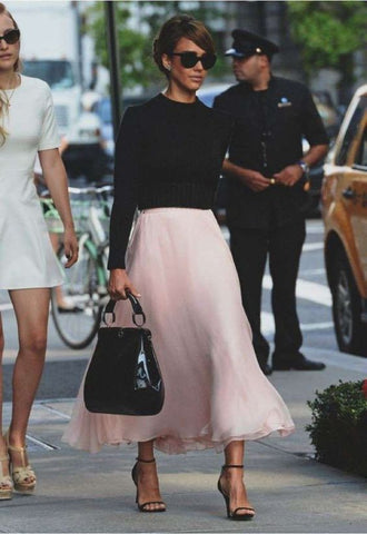 Jessica Alba Pleated Skirt Strap Heels Outfit