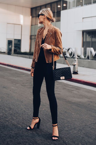 Strap Heels with Jeans and Jacket Outfit
