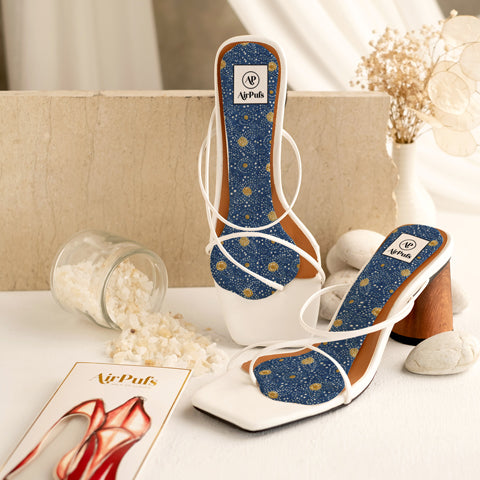 Rejina Pyo White Strappy Heels with Airpufs Insoles in Batik print