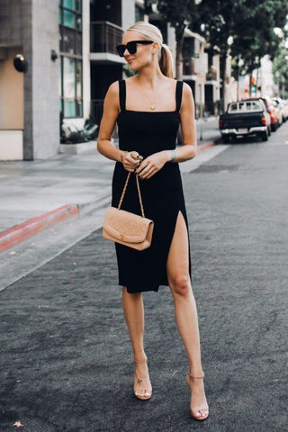 Fashion Jackson Black Dress LBD Strap Heels Outfit
