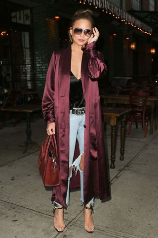 Chrissy Teigen Strap Heels with Silk Cardigan Night outfit
