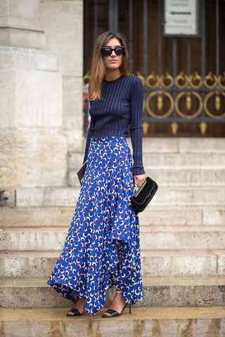 Strap Heels outfit with Printed Skirt