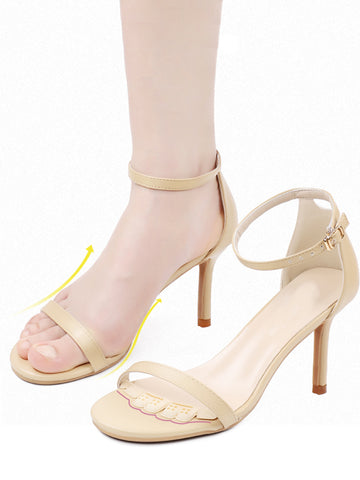 strap heels shoe grips bumps to keep feet from sliding forward