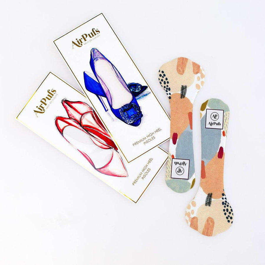 Pair of 3/4 Desert Dust Abstract Brush Strokes Print Shoe Insoles for High Heels with flat packaging- Airpufs