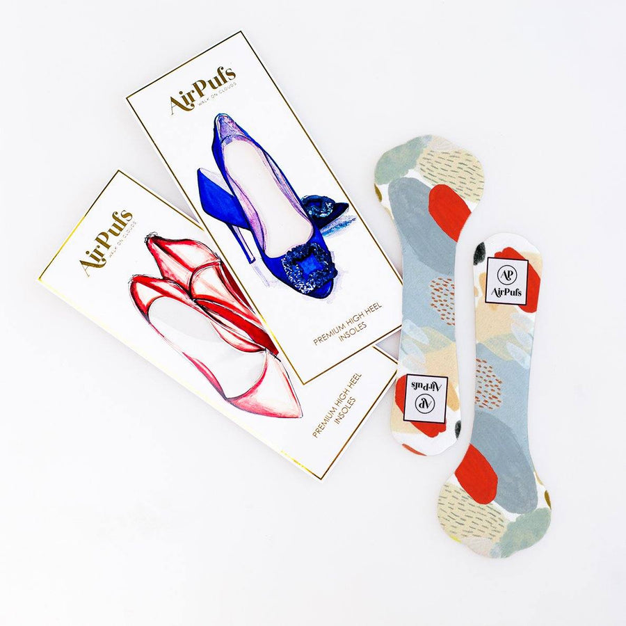 Pair of 3/4 red and blue abstract Print Bridal Shoe Insoles for High Heels with flat packaging- Airpufs