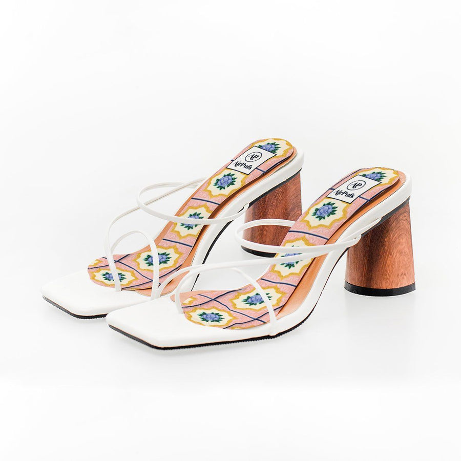 Duxton Hill Pink and Purple Rose Nyonya Peranakan Tile Print High Heel Insoles in White Rejina Pyo Strap Heels- Airpufs