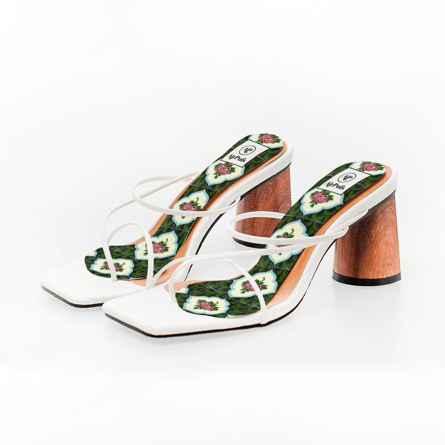 Green and Red Rose Nyonya Peranakan Tile Print High Heel Insoles in White Rejina Pyo Strap Heels- Airpufs