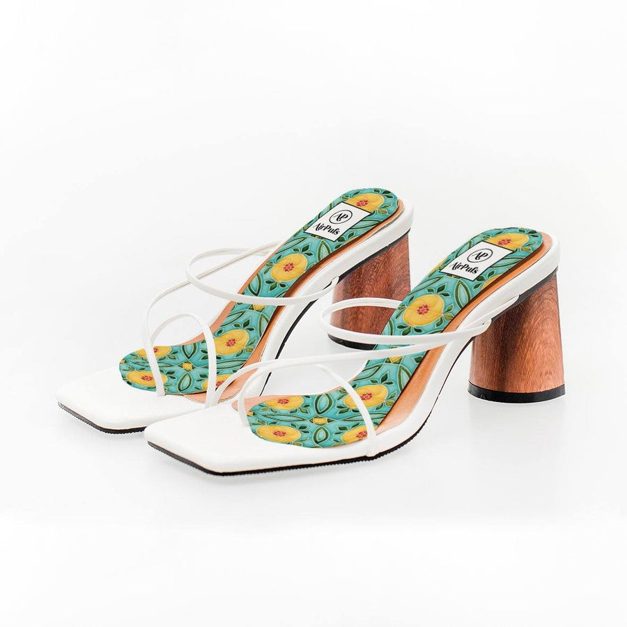 Emerald Hill Turquoise and Yellow Nyonya Peranakan Tile Print High Heel Insoles in White Rejina Pyo Strap Heels- Airpufs