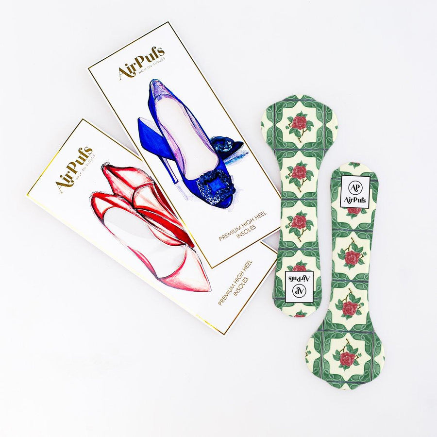 High Heel Insoles- Shoe Inserts- Airpufs-Peranakan Tile Series: Temple Street Airpufs