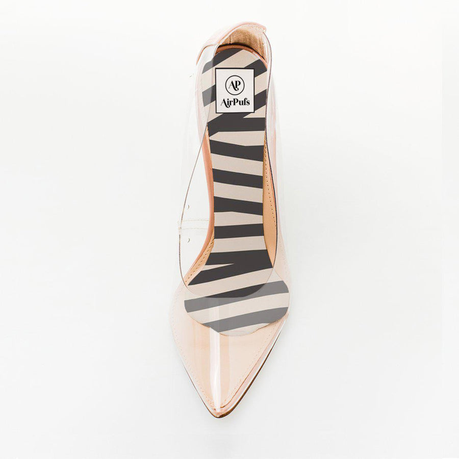 Audrey Stripes Print Foam Insole in single front facing Steve Madden Perspex High Heels- Airpufs