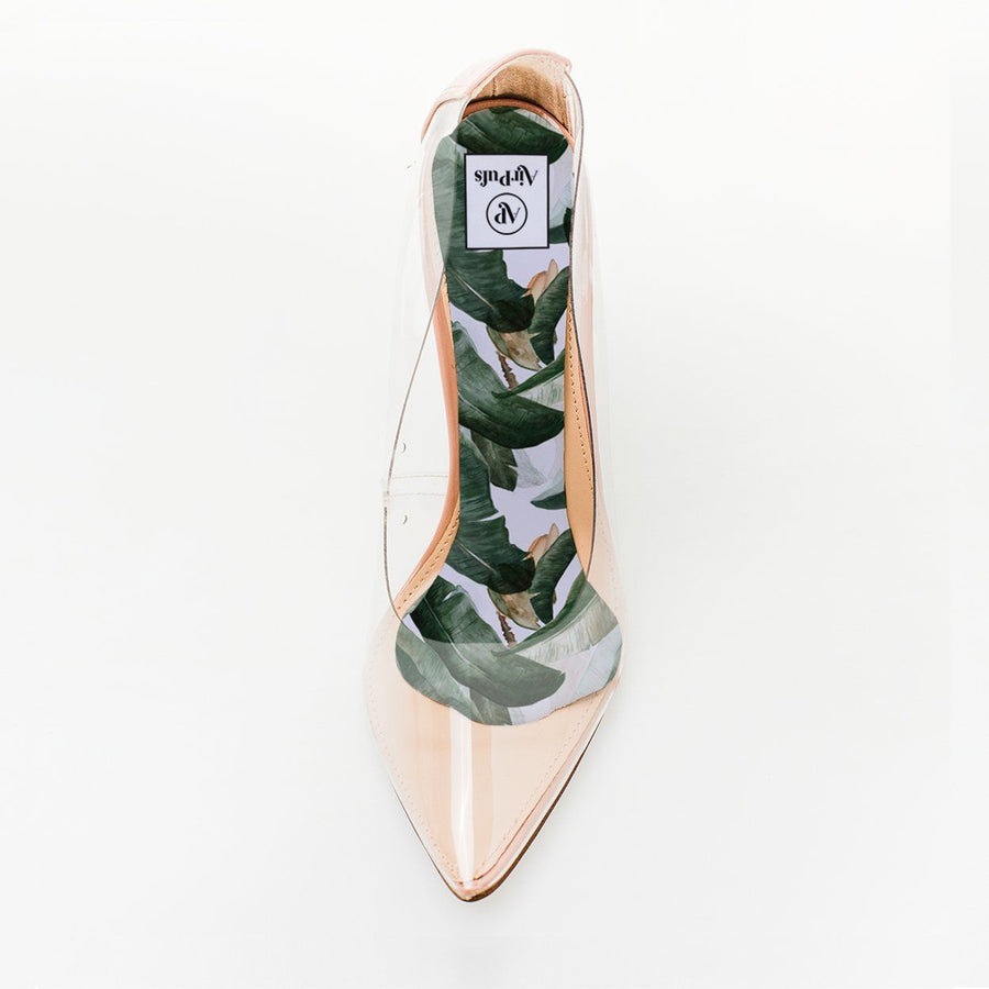 Banana Leaves Martinique Print Foam Insole in single Steve Madden Perspex High Heels- Airpufs