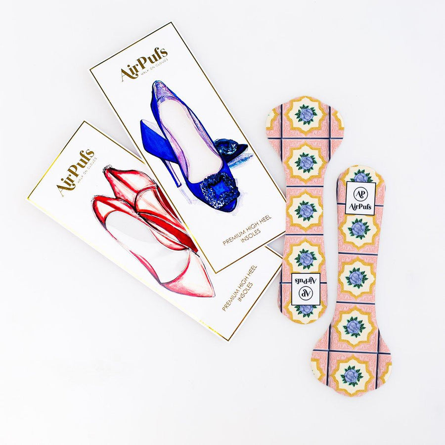 Pair of 3/4 Pink and Purple Rose Peranakan Tile Print Bridal Shoe Insoles for High Heels with flat packaging- Airpufs