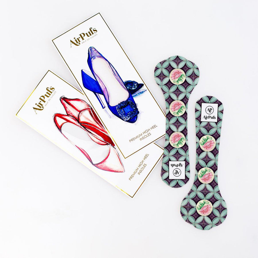 Pair of 3/4 Purple and Pink Rose Singapore Peranakan Tile Print Bridal Shoe Insoles for High Heels with flat packaging- Airpufs