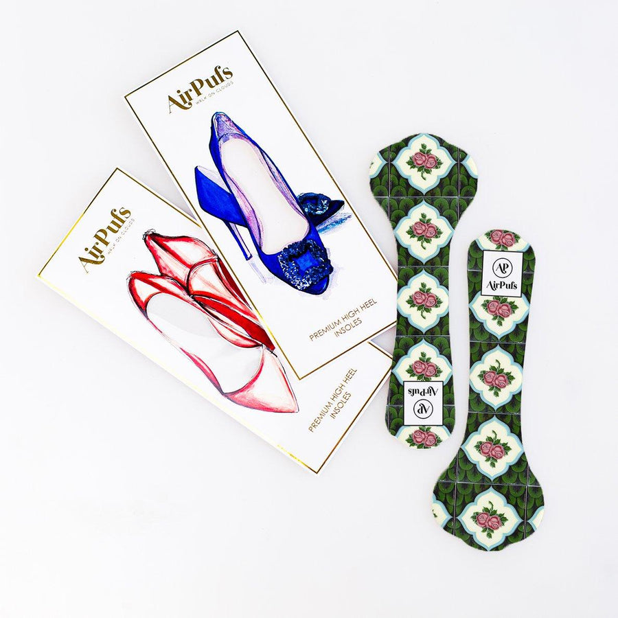 Pair of 3/4 Green and Red Roses Floral Peranakan Tile Print Bridal Shoe Insoles for High Heels with flat packaging- Airpufs